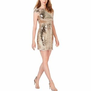 ADRIANNA PAPELL Plus Sequined Mini Party Dress